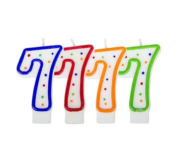 Verjaardagskaarsjes 7 jaar stipjes gekleurd - per stuk