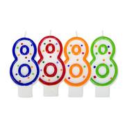 Verjaardagskaarsjes 8 jaar stipjes gekleurd - per stuk