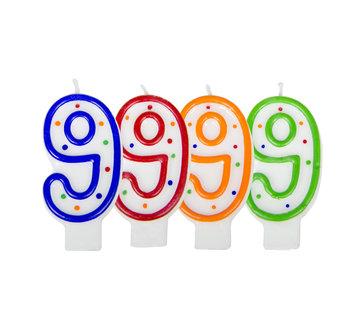 Verjaardagskaarsjes 9 jaar stipjes gekleurd - per stuk