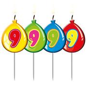 Verjaardagkaarsjes Balonnen 9 jaar - per stuk
