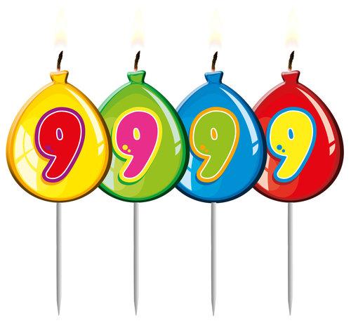 Verjaardagskaarsjes Ballonnen 9 Jaar - per stuk