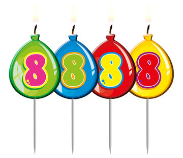 Verjaardagskaarsjes Ballonnen 8 Jaar - per stuk