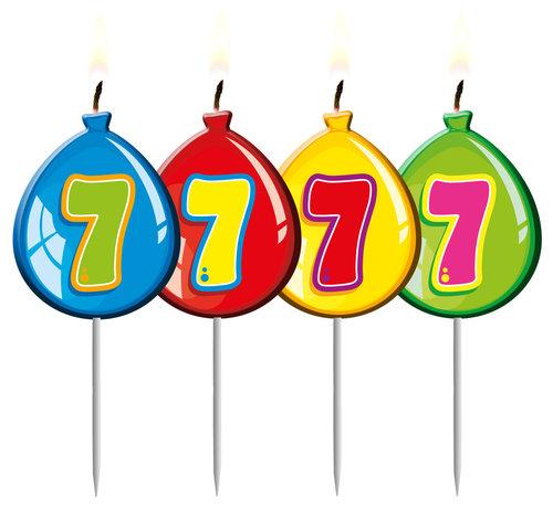 Verjaardagskaarsjes Ballonnen 7 Jaar - per stuk