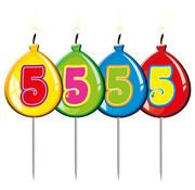 Verjaardagkaarsjes Balonnen 5 jaar - per stuk