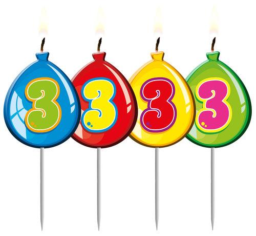 Verjaardagskaarsjes Ballonnen 3 Jaar - per stuk