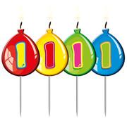 Verjaardagkaarsjes Balonnen 1 jaar - per stuk