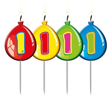 Verjaardagskaarsjes Ballonnen 1 Jaar - per stuk