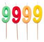 Verjaardagkaarsjes Neon 9 jaar - per stuk