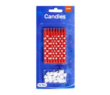 Taartkaarsjes Rood met Witte Hartjes - 16 + 16 stuks