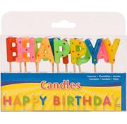 Verjaardagskaarsjes Happy Birthday - per stuk