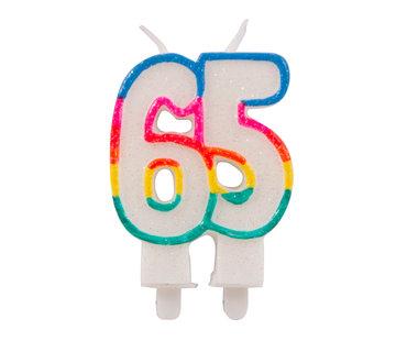 Verjaardagskaarsjes 65 jaar Gekleurd Glitter - per stuk