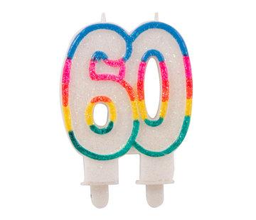 Verjaardagskaarsjes 60 jaar Gekleurd Glitter - per stuk