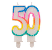 Verjaardagskaarsjes 50 jaar Gekleurd Glitter - per stuk