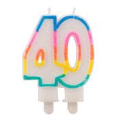 Verjaardagskaarsjes 40 jaar Gekleurd Glitter - per stuk