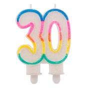 Verjaardagskaarsjes 30 jaar Gekleurd Glitter - per stuk