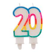 Verjaardagskaarsjes 20 jaar Gekleurd Glitter - per stuk