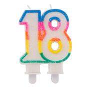 Verjaardagskaarsjes 18 jaar Gekleurd Glitter - per stuk