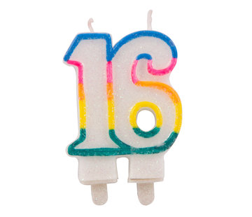 Verjaardagskaarsjes 16 jaar Gekleurd Glitter - per stuk