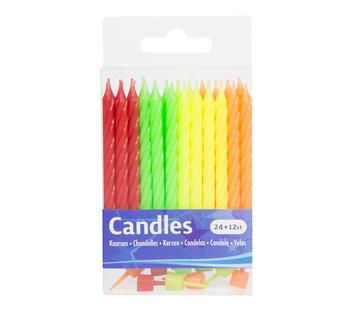 Verjaardagskaarsjes Neon Kleuren - 24+12 stuks