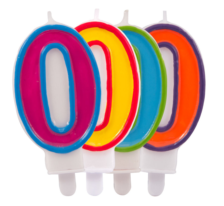 Verjaardagkaarsjes Gekleurd '0' - per stuk