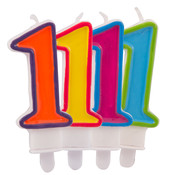Verjaardagkaarsjes Gekleurd 1 jaar - per stuk