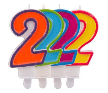 Verjaardagkaarsjes Gekleurd 2 jaar - per stuk