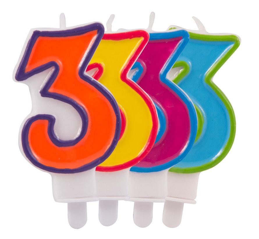 Verjaardagkaarsjes Gekleurd 3 jaar - per stuk
