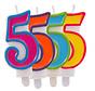 Verjaardagkaarsjes Gekleurd 5 jaar - per stuk