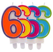 Verjaardagkaarsjes Gekleurd 6 jaar - per stuk