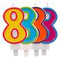 Verjaardagkaarsjes Gekleurd 8 jaar - per stuk