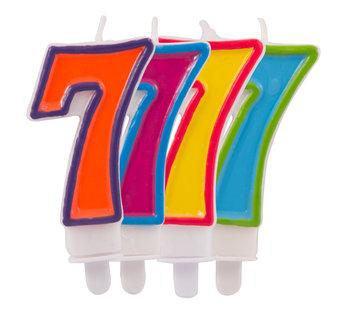 Verjaardagkaarsjes Gekleurd 7 jaar - per stuk
