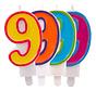 Verjaardagkaarsjes Gekleurd 9 jaar - per stuk