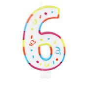 Verjaardagskaarsjes Groot 6 jaar - per stuk