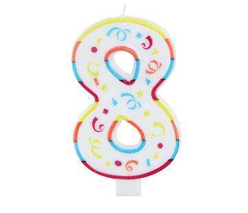 Verjaardagskaarsjes Groot 8 jaar - per stuk