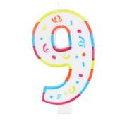 Verjaardagskaarsjes Groot 9 jaar - per stuk