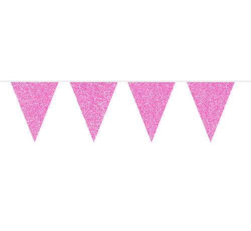 Vlaggenlijn Roze Glitter - 6 meter