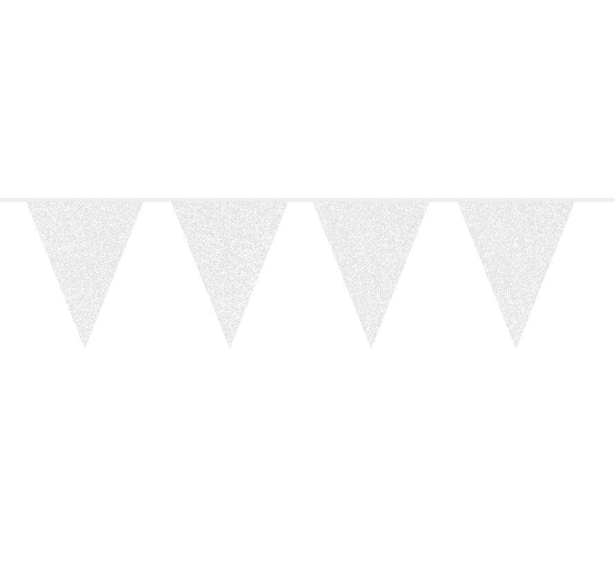 Vlaggenlijn Wit Glitter - 6 meter