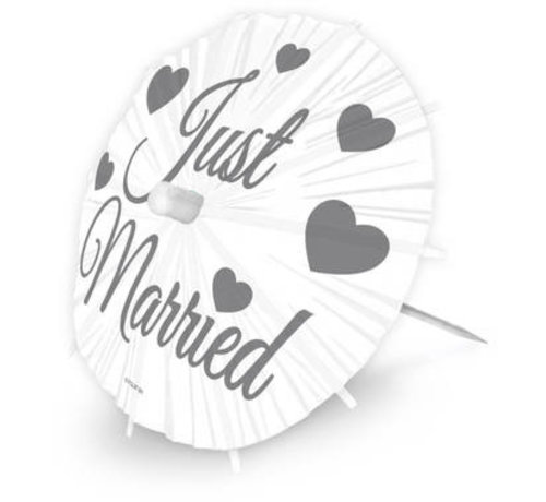 Bruiloft Parasol Prikkers Just Married - 8 stuks