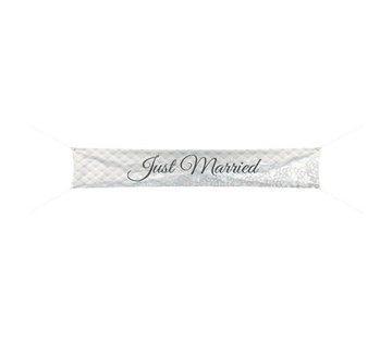 Bruiloft Spandoek Just Married 300x60cm - per stuk