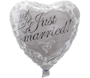 Bruiloft Folieballon Zilver Hart - per stuk