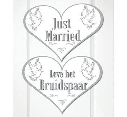 Bruiloft Deurbord Just Married - per stuk