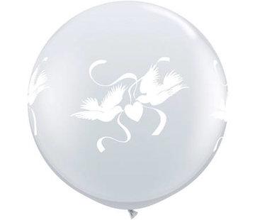 Bruiloft Megaballonnen Witte Duiven 90cm - 2 stuks