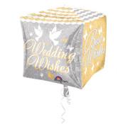 Bruiloft Folieballon Cubez Wedding Wishes - per stuk