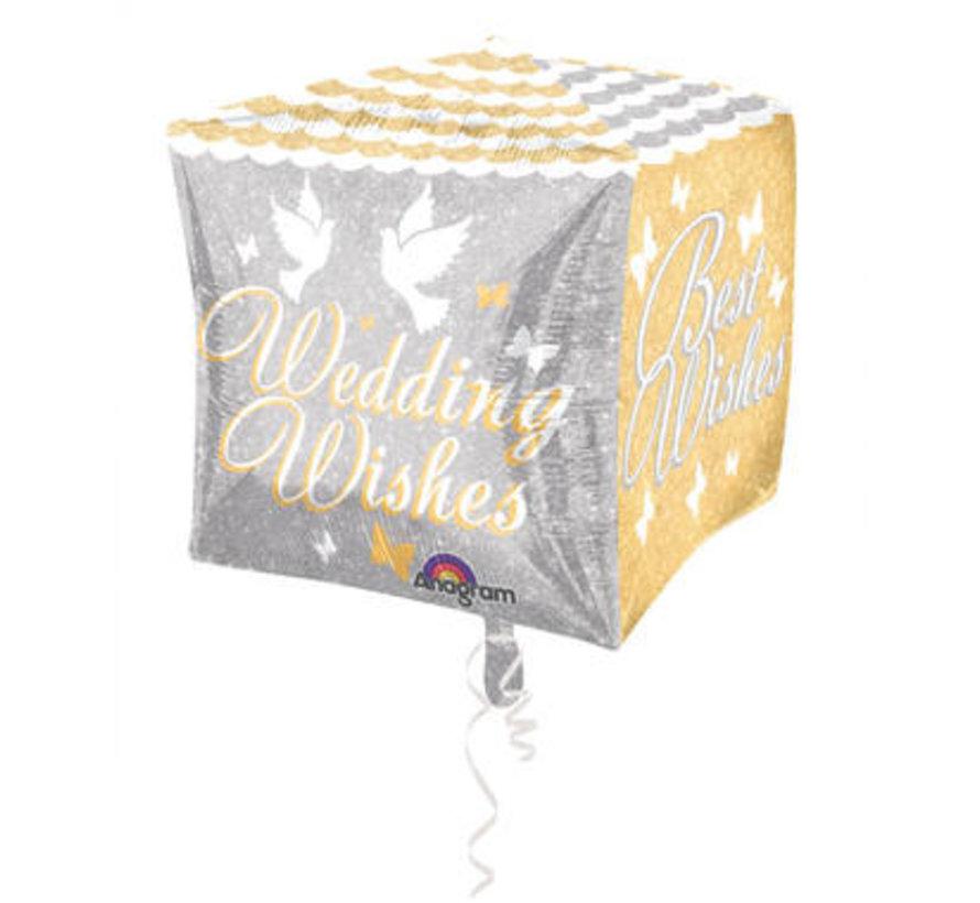 Bruiloft Folieballon Cubez Wedding Wishes 38cm - per stuk
