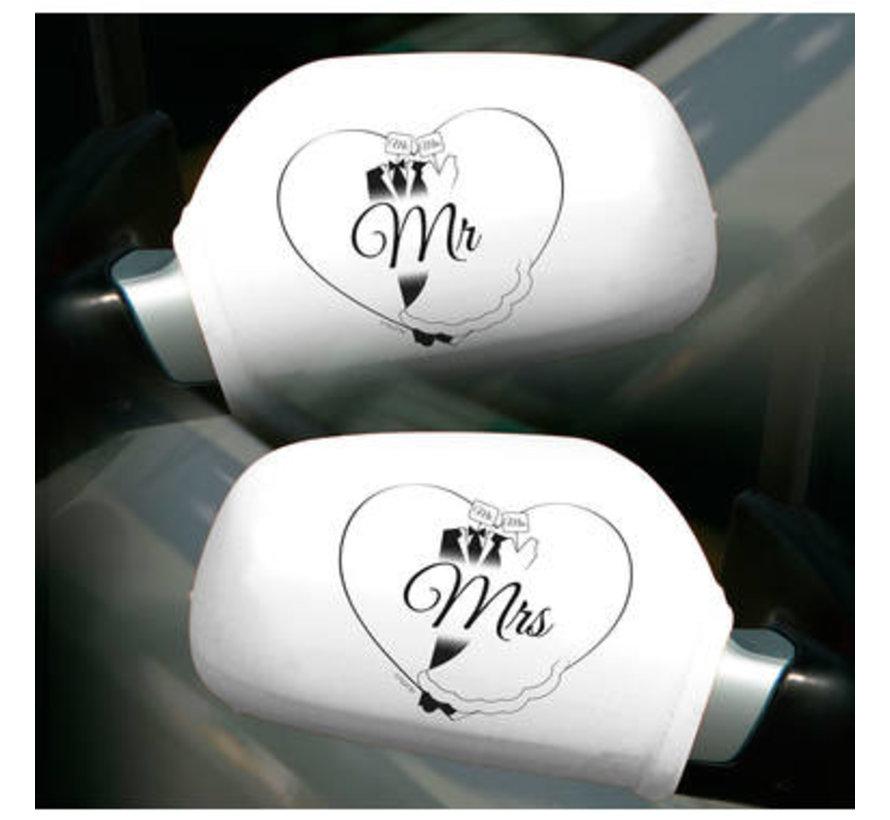 Bruiloft Autospiegelhoezen Mr & Mrs - per set
