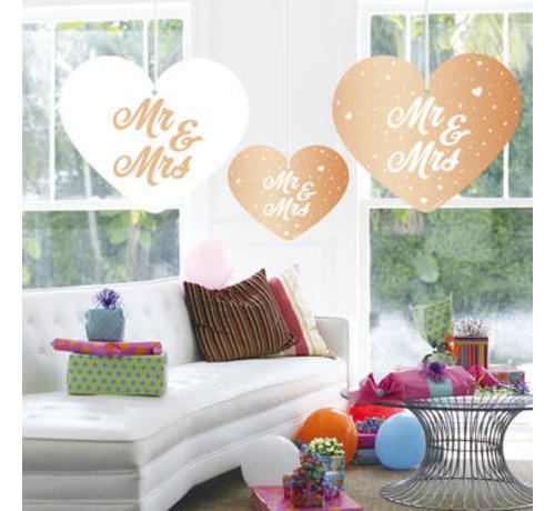 Bruiloft Hangdecoratie Rosé Goud - 5 stuks