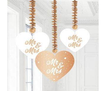 Bruiloft Hangdecoratie Rosé Goud - 3 stuks