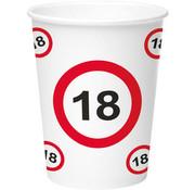 18 Jaar Verkeersbord Papieren Bekers - 8 stuks