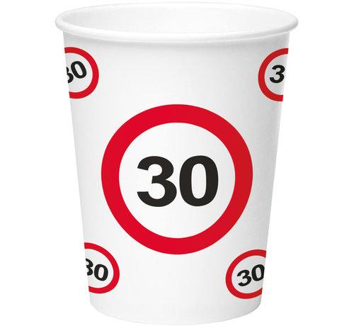 30 Jaar Verkeersbord Papieren Bekers 350ml - 8 stuks
