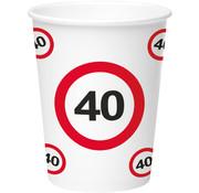 40 Jaar Verkeersbord Papieren Bekers - 8 stuks